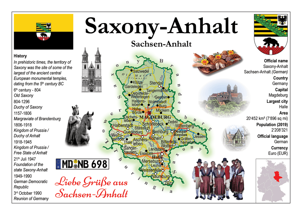 Germany States - Saxony-Anhalt MOTW - top quality approved by www.postcardsmarket.com specialists