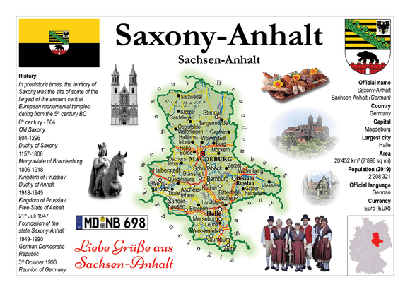 Europe | Germany States - Saxony-Anhalt _ Sachsen-Anhalt MOTW x 3pieces - top quality approved by www.postcardsmarket.com specialists