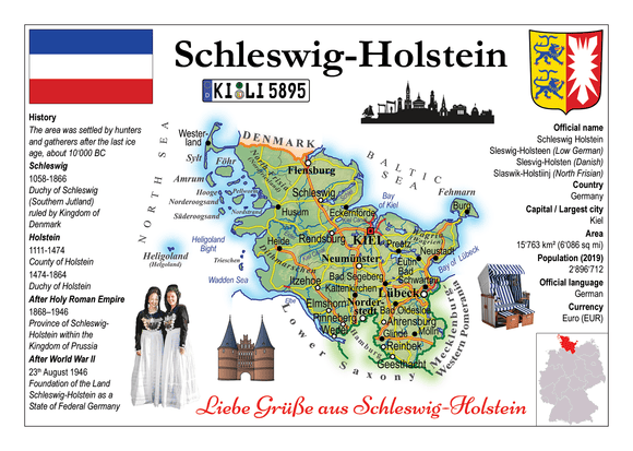 Europe | Germany States - Schleswig-Holstein MOTW x 3pieces - top quality approved by www.postcardsmarket.com specialists