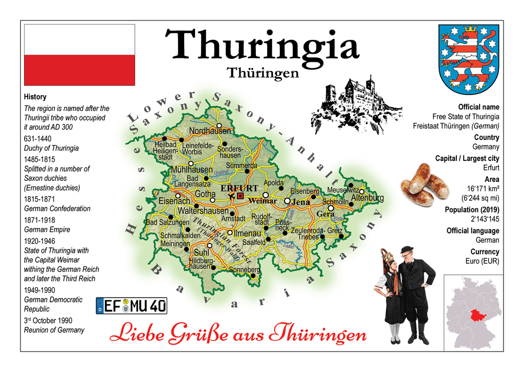 Europe | Germany States - Thuringia _ Thüringen MOTW x 3pieces - top quality approved by www.postcardsmarket.com specialists