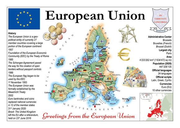 Europe | European Union MOTW - update Brexit - top quality approved by www.postcardsmarket.com specialists