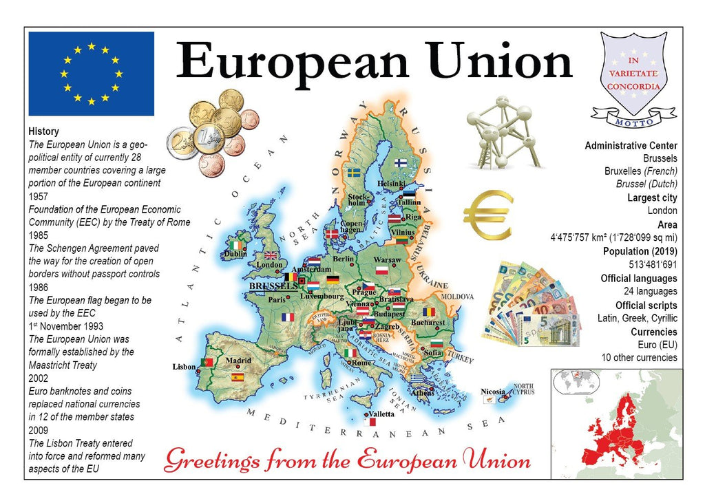 Europe | European Union MOTW - (History - before Brexit) - top quality approved by www.postcardsmarket.com specialists