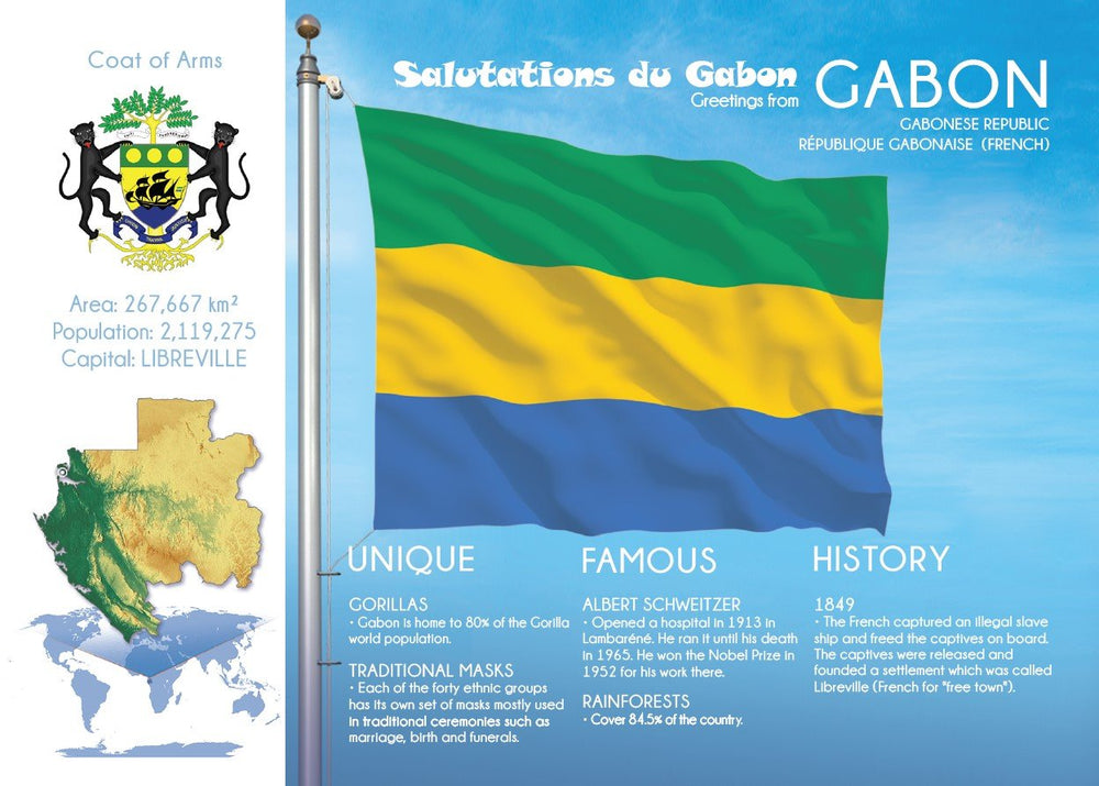 AFRICA | GABON - FW (country No. 143) - top quality approved by www.postcardsmarket.com specialists