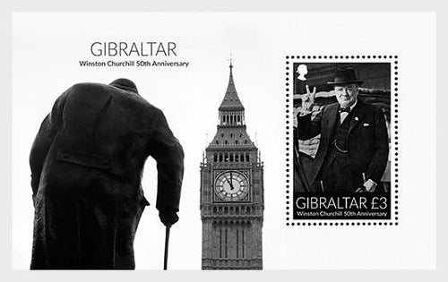 *Stamps | Gibraltar 2015 Winston Churchill 50th Anniversary - Gibraltar Miniature Sheet - top quality approved by www.postcardsmarket.com specialists