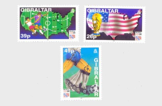 @1994 World Cup Football USA - Gibraltar Stamp Set - www.postcardsmarket.com