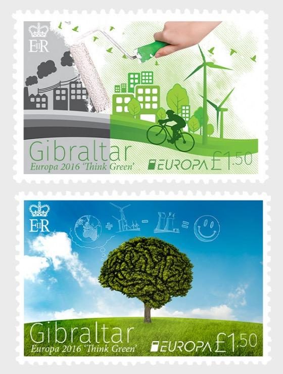 @2016 Europa Stamps - Think Green - Gibraltar stamps - Postcards Market