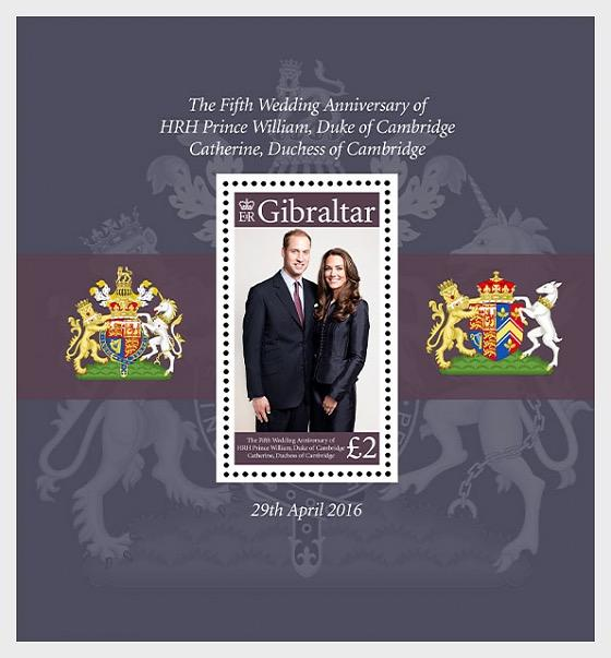 @2016 Fifth Anniversary William and Kate - Gibraltar Miniature Sheet - top quality approved by www.postcardsmarket.com specialists