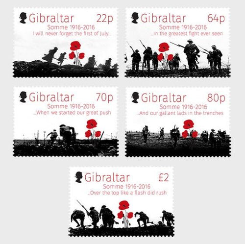 *Stamps | Gibraltar 2016 - 100th Anniversary Battle of the Somme - Gibraltar stamps - top quality approved by www.postcardsmarket.com specialists
