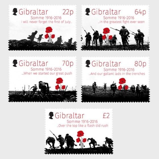 @2016 - 100th Anniversary Battle of the Somme - Gibraltar stamps - www.postcardsmarket.com
