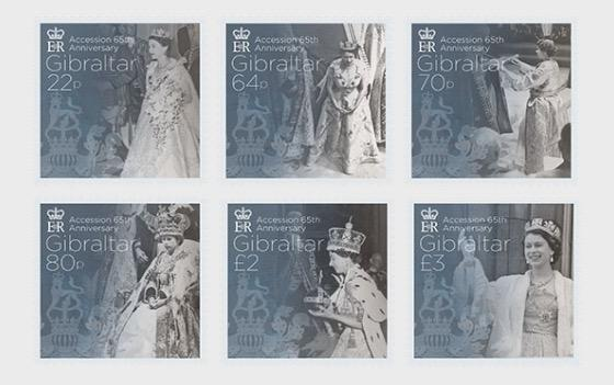 @2017 Accession 65th Anniversary - Gibraltar stamps - top quality approved by www.postcardsmarket.com specialists