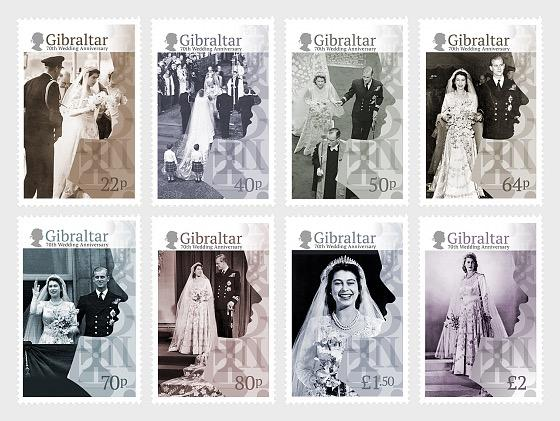 @2017 HM Queen Elizabeth's 70th Wedding Anniversary - Gibraltar stamps - top quality approved by www.postcardsmarket.com specialists