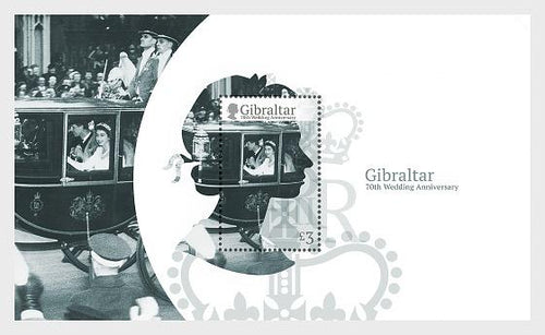 *Stamps | Gibraltar 2017 HM Queen Elizabeth's 70th Wedding Anniversary - Gibraltar Miniature Sheet - top quality approved by www.postcardsmarket.com specialists