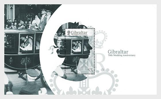 @2017 HM Queen Elizabeth's 70th Wedding Anniversary - Gibraltar Miniature Sheet - top quality approved by www.postcardsmarket.com specialists