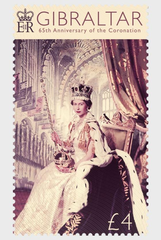 @2018 65th Anniversary of the Coronation - Gibraltar stamps - top quality approved by www.postcardsmarket.com specialists