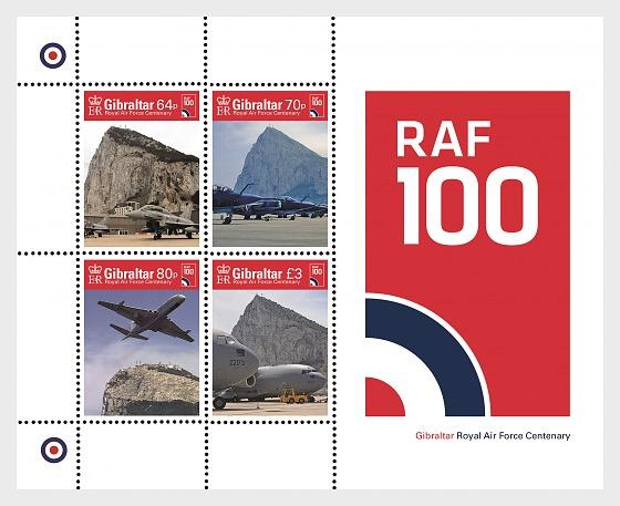 @2018 Royal Air Force Centenary - Gibraltar miniature stamps sheet - www.postcardsmarket.com