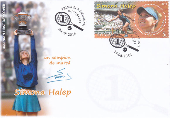 Photo: Simona Halep FDC_First day cover 29.08.2018 - www.postcardsmarket.com
