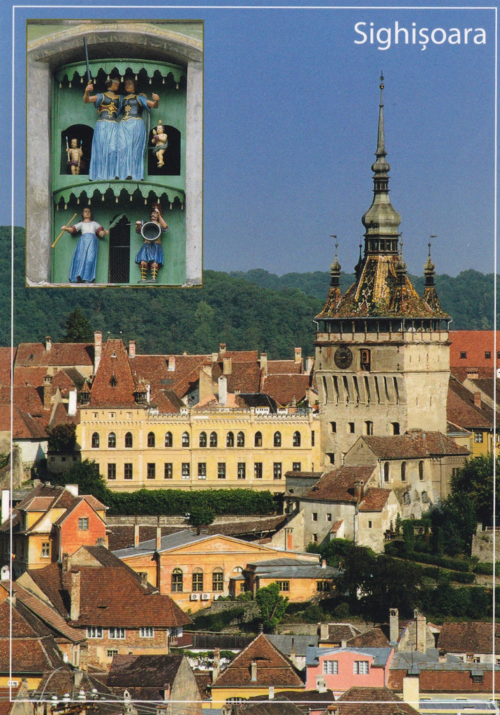 3 x LAD Romania Sighisoara The Clock Tower - UNESCO list - www.postcardsmarket.com