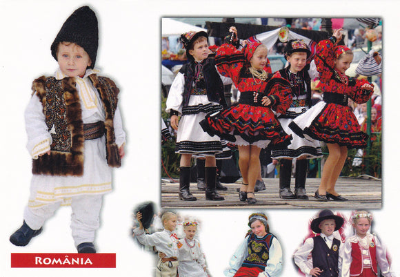 Market Corner: Bundle of 3 x LAD Romania - Children in traditional costumes - top quality approved by www.postcardsmarket.com specialists