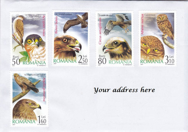 Bird theme cover sent from Romania