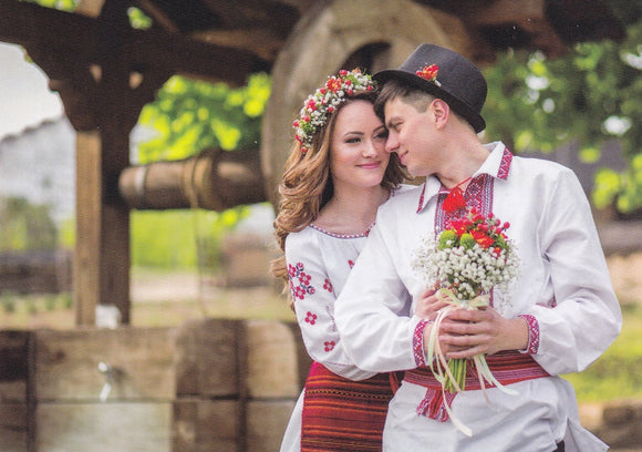 Moldova couple with traditional clothes