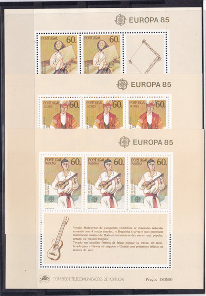 Europa 1985 Portugal stamps European Year of Music Europa CEPT Souvenir Sheets (Portugal, Madeira, Azores)
