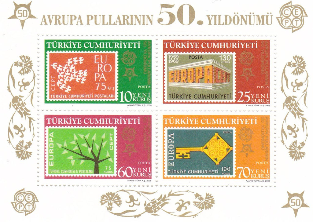 Stamps Europa 2005 Turkey 50 years of Europa Cept issues Souvenir Sheets: 10 perforated & 10 non-perforated - Postcards Market