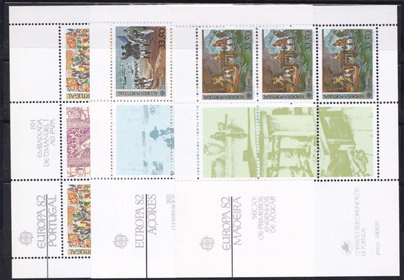 Europa 1982 Portugal stamps Europa CEPT Historical Events Souvenir Sheets (Portugal, Madeira, Azores)