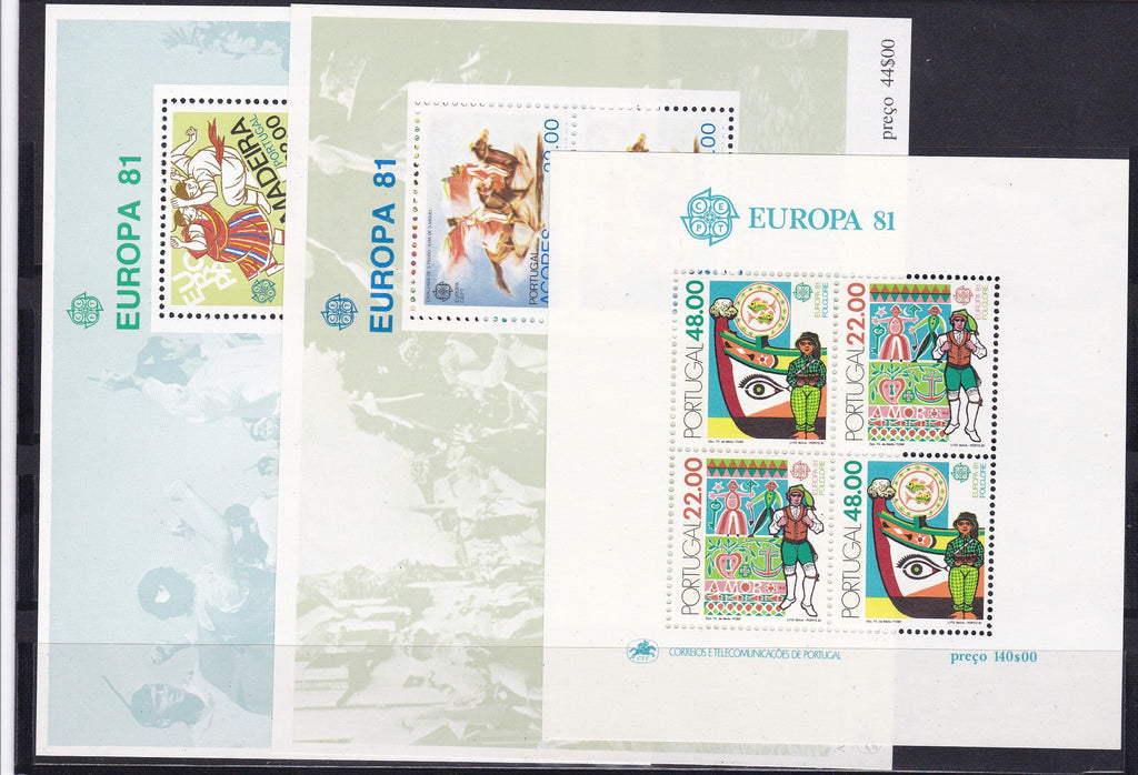 Stamps Europa 1981 Portugal stamps Europa CEPT Folklore Souvenir Sheets (Portugal, Madeira, Azores) - www.postcardsmarket.com