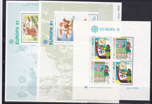 *Stamps | Europa 1981 Portugal stamps Europa CEPT Folklore Souvenir Sheets (Portugal, Madeira, Azores) - top quality approved by www.postcardsmarket.com specialists