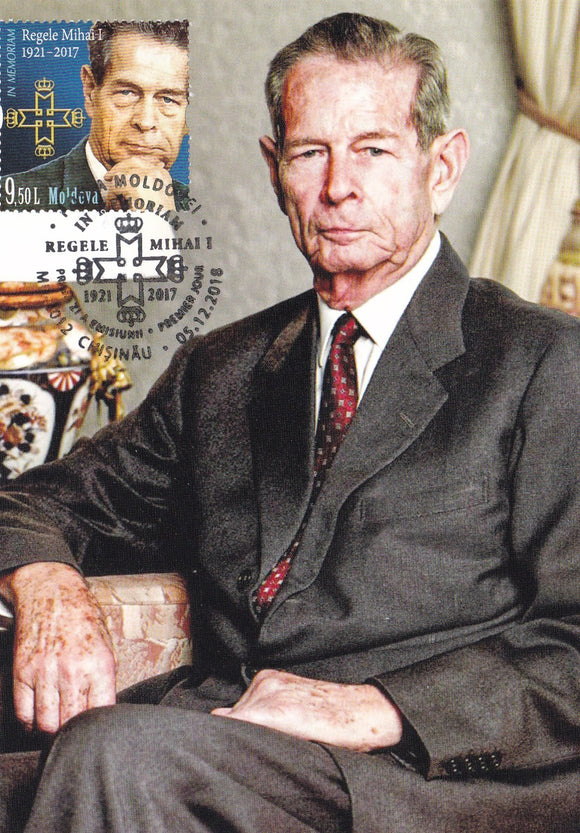 Stamps Moldova: King Michael of Romania - In memoriam_MOLDOVA Republic Stamp_Maxicard 05.12.2018 (II) - www.postcardsmarket.com