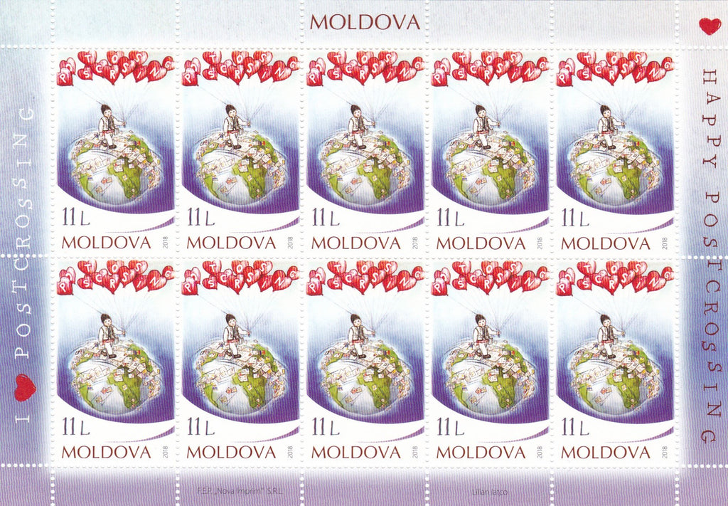 Stamps Moldova - Posctrossing - Souvenir Sheet of 10 - top quality approved by www.postcardsmarket.com specialists