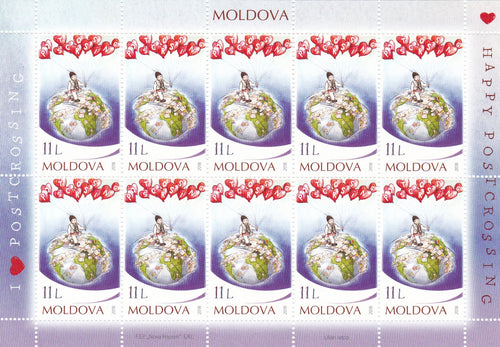 *Stamps | Moldova - Posctrossing - Souvenir Sheet of 10 stamps - top quality approved by www.postcardsmarket.com specialists