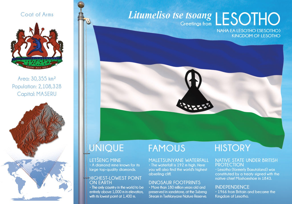 AFRICA | Lesotho - FW (country No. 144) - top quality approved by www.postcardsmarket.com specialists