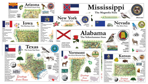 United States - ALL 51 STATES (MOTW US) - pack of 51 cards - Postcards Market
