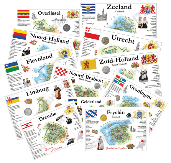 The Netherlands Provinces - All 12 Pack - top quality approved by Postcards Market specialists