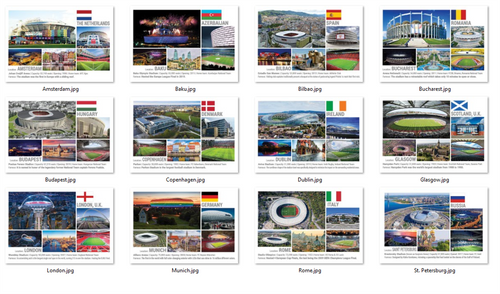 Photo: Set of 12 European Football Stadiums - prepared for Euro2020 - top quality approved by www.postcardsmarket.com specialists