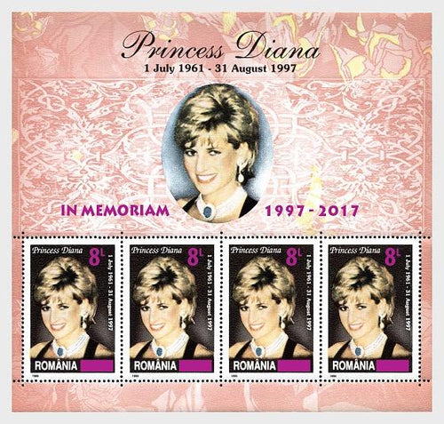 Collectibles Stamps | 2017 Princess Diana, In memoriam - Souvenir sheet 4 stamps overprint - top quality Stamps approved by www.postcardsmarket.com specialists
