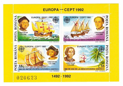 *Stamps | Romania 1992 Europa CEPT stamps - Souvenir Sheet - Romania MNH Stamps - top quality Stamps approved by www.postcardsmarket.com specialists