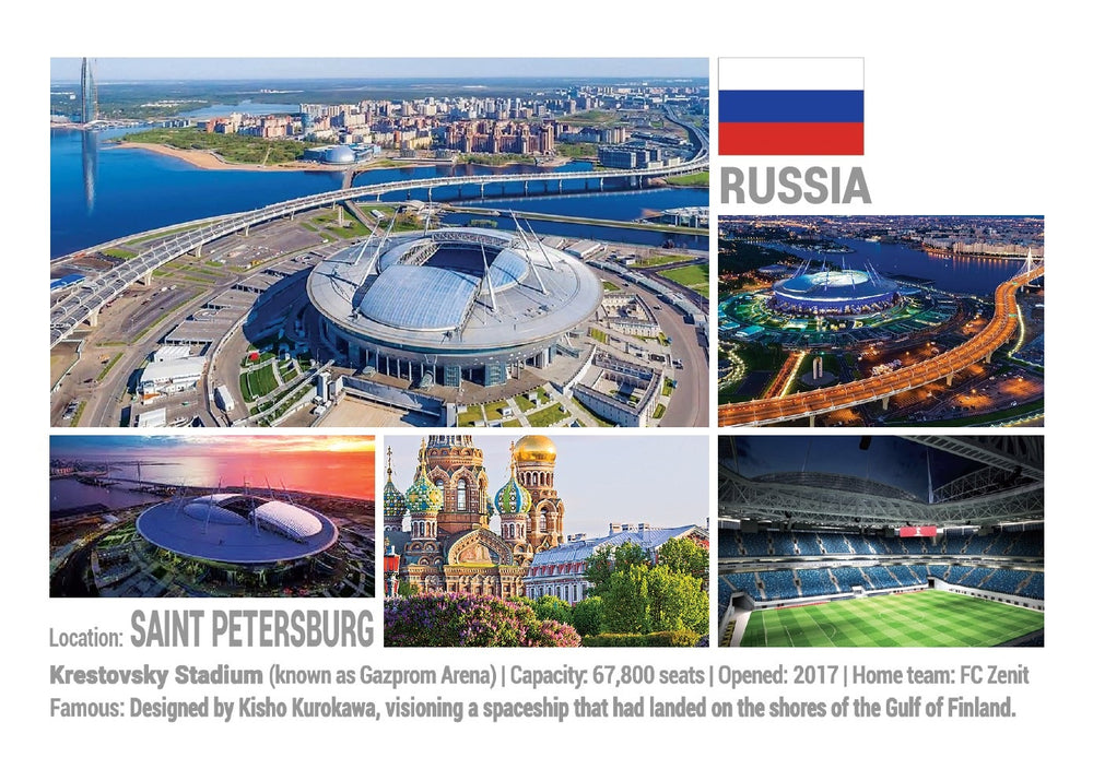 Photo: European Football Stadiums - St. Petersburg (x 5 pcs) - top quality approved by www.postcardsmarket.com specialists