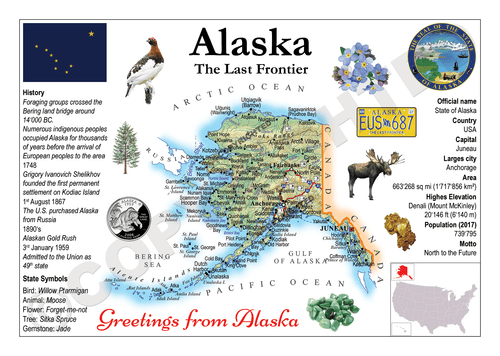 North America | U.S. Constituent - ALASKA (MOTW US) x3pieces - top quality approved by www.postcardsmarket.com specialists