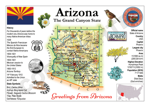 North America | U.S. Constituent - ARIZONA (MOTW US) x3pieces - top quality approved by www.postcardsmarket.com specialists