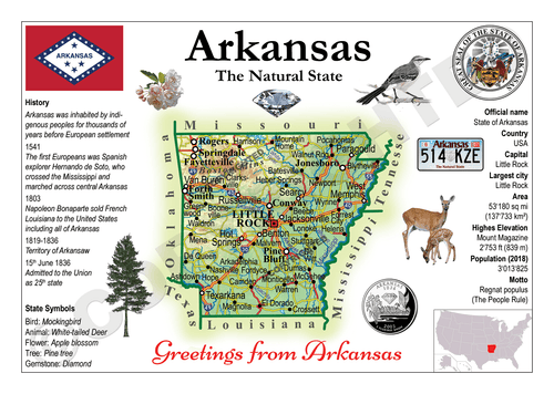 North America | U.S. Constituent - ARKANSAS (MOTW US) x3pieces - top quality approved by www.postcardsmarket.com specialists