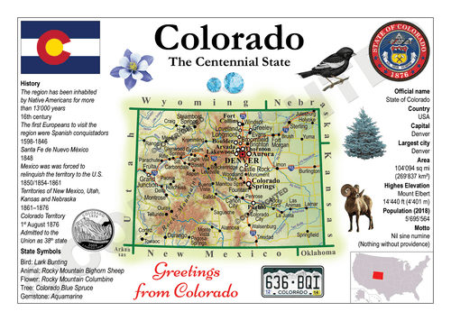 North America | U.S. Constituent - COLORADO (MOTW US) x3pieces - top quality approved by www.postcardsmarket.com specialists