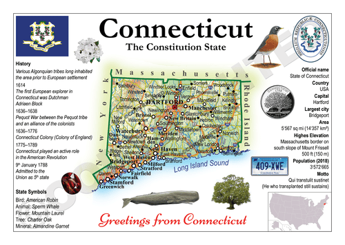 North America | U.S. Constituent - CONNECTICUT (MOTW US) x3pieces - top quality approved by www.postcardsmarket.com specialists