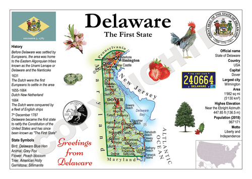 North America | U.S. Constituent - DELAWARE (MOTW US) x3pieces - top quality approved by www.postcardsmarket.com specialists