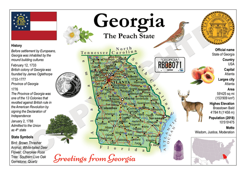 North America | U.S. Constituent - GEORGIA (MOTW US) x3pieces - top quality approved by www.postcardsmarket.com specialists