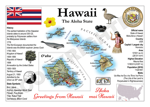 North America | U.S. Constituent - HAWAII (MOTW US) x3pieces - top quality approved by www.postcardsmarket.com specialists
