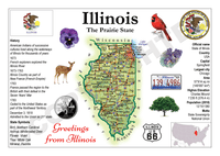 North America | U.S. Constituent - ILLINOIS (MOTW US) x3pieces - top quality approved by www.postcardsmarket.com specialists