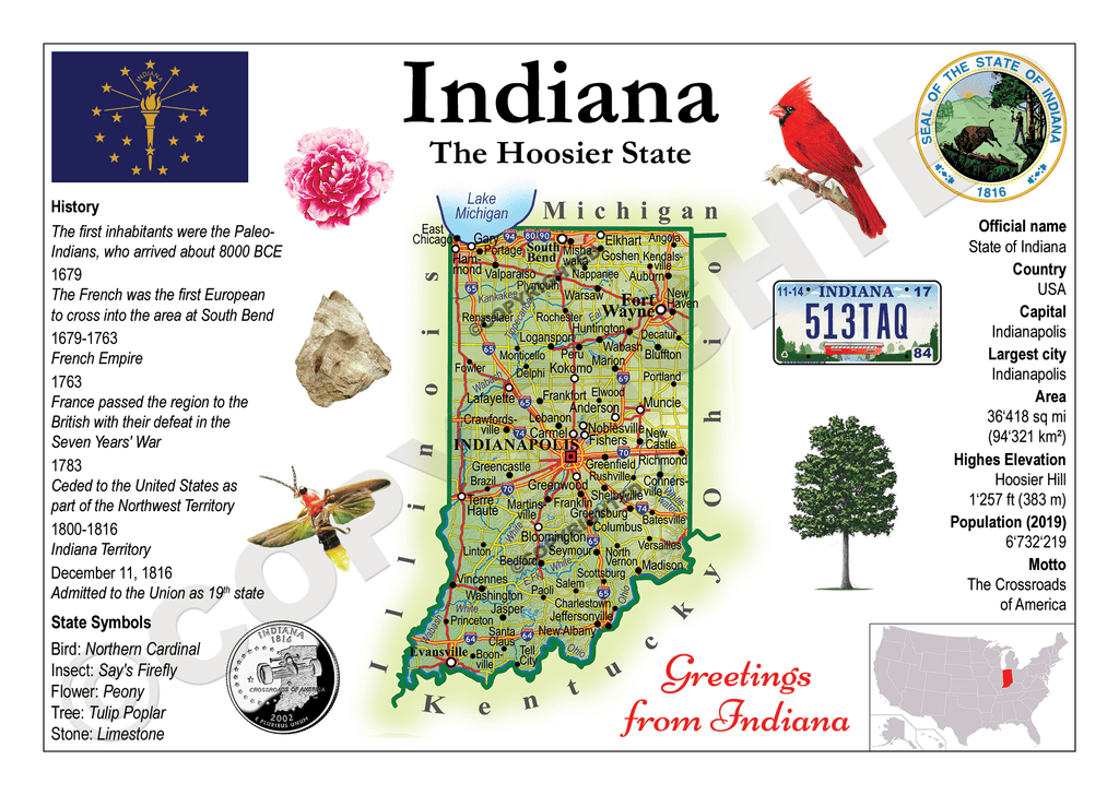 United States - INDIANA (MOTW US) - top quality approved by www.postcardsmarket.com specialists