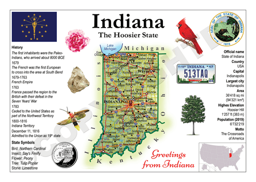 North America | U.S. Constituent - INDIANA (MOTW US) x3pieces - top quality approved by www.postcardsmarket.com specialists